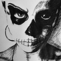 darkness traditionaldrawing inkdrawing skullhead blackandwhite